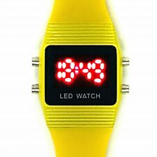 Ladies Square LED Watch / Yellow Jelly Strap