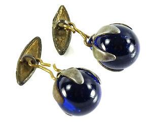 Vintage Royal Blue Glass Ball Loose Link Cufflinks