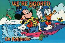 """Mickey Mouse and Donald Duck are  """" Hooked on Kentucky """" - Walt Disney Postcard"""