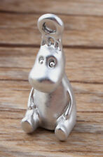 1pc 3D Silver Tone Moomintroll Charm Bracelet Necklace Pendent Craft DIY Anime