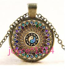 Yin Yang Mandala Cabochon bronze Glass Chain Pendant Necklace TS-4170