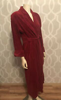 Conrad Womens Robe Sz M Medium Red Velveteen Wrap Maxi Long Belt Pockets Euc