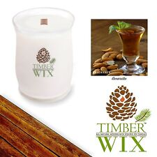 Timber Wix Wooden Wick Soy Candles AMARETTO 14oz., 100Bh Natural US Grown Soy