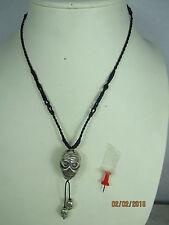 Ancien tete de mort amulette tibet ~ 1965 crâne skull pendentif argent 925 Collier