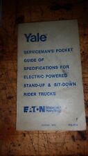 YALE SERVICEMAN'S GUIDE OF SPECIFICATIONS ELECTRIC FORK LIFT TRUCKS