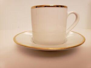 2 Monno Bangladesh P1 Porcelain Gold Trim Espresso Cup and Saucer