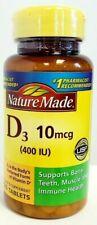 Nature Made Vitamin D3 10 mcg (400 IU), 100 Tablets EXP 06/21
