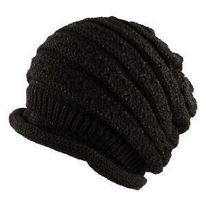 Morehats Metallic Cotton Warm Knit Ski Slouchy Beanie Cap Hat Winter Womens Mens