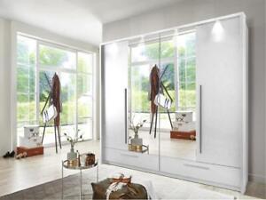 Large white matt wardrobe MONA 210cm - 4 bi-folding mirrored doorsf