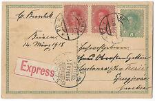 Austria 1918 Brixen express uprated postal stationery card to Croatia Gjurgjevac