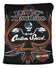 Harley Davidson Ride Hard Skull Chopper Ace Spades fleece blanket  throw NEW