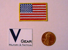 US USA American Flag Patch SMALL 1 x 1 1/2 GOLD Border