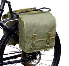 1980s Ex-Army Showerproof Canvas Pannier Bags pair retro green bike vintage