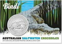 2013 AUSTRALIAN SALTWATER CROCODILES BINDI 1oz Silver Coin on Card