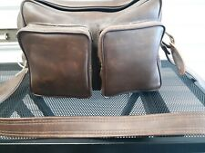 VINTAGE HARD LEATHER LARGE CAMERA BAG CASE with SHOULDER STRAP