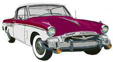 Studebaker 1955  President Speedster canvas art print - plum white