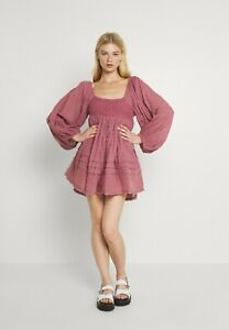 Free People Ari Lace Ruched Crochet Cotton Mini Day Dress Boho Size Small New