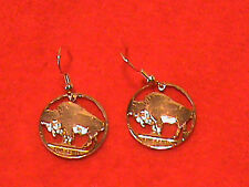 Hand Cut Indian Head Nickel (buffalo Side) 24 kt Gold Plated made into Earrings