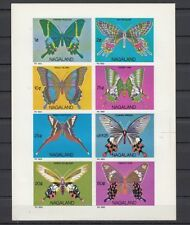 Nagaland, 1969 India Local issue. Butterflies, IMPERF sheet of 8.