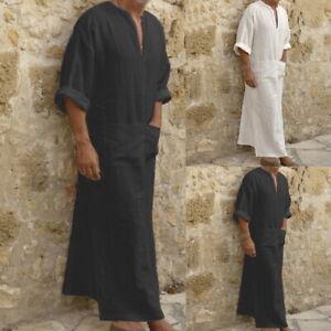 Herren Langarm Longshirt Islamic Muslim Mittlere Osten Hemd Kaftan Maxikleid Top