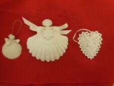 3 Margaret Furlong Angel Shell, Heart Ornaments: Snowflake, Heart, Hummingbird