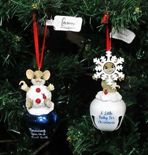 """Nwt Set Of 2 Charming Tails Mice Christmas Jingle Bell Ornaments 4"""" H #131637"""