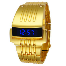 Iron Man Super Hero Military Golden Belt Build-in LED LCD Digital Wrist Watch