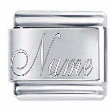 Satin NAME Personalised Custom Italian charm traditionally engraved DAISY CHARM