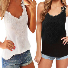 Sexy Ladies Sleeveless Casual Lace Cotton Vest Tee Shirt Tops Blouse Top Tank