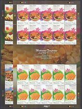 MALAYSIA 2014 LOCAL FOOD HONG KONG JOINT ISSUE 2 X FULL SHEET OF 20 STAMPS MINT