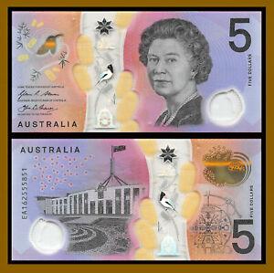 Australia 5 Dollars, 2016 P-62 Polymer Queen Elizabeth II Unc