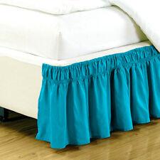 "Queen King Twin Full Bed Skirt Ruffle Elastic Bedspread Corners Wrap w/ 15"" Drop"