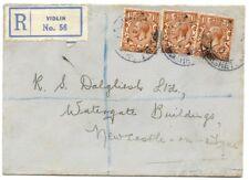 """Cubierta de 1934 con tres cuestiones KGV 1 1/2 D se """"registrado"""" de vidlin, Shetland es"""