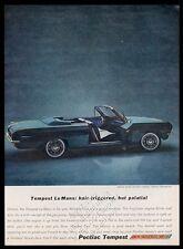 1962 Pontiac Tempest LeMans convertible car photo vintage print ad