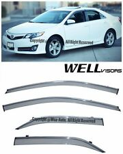 For 12-14 Camry WellVisors Side Window Visors With Chrome Trim Rain Guard