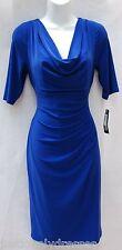 Ralph Lauren azure blue elbow sleeves stretch jersey draped dress sz 14P work