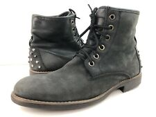 Guess Men's 12.5 Black Rock Style Weathered Suede Ankle Boots W Studded Spikes