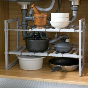Under Sink Storage Shelf Shelves Organizer Space Saving Tidy Rack Cupboard Add