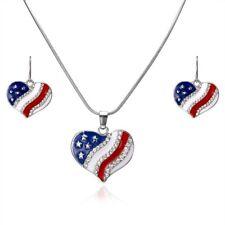 Fashion Heart Shape USA Flag Necklace Earrings Jewelry Set Women Costume Gift