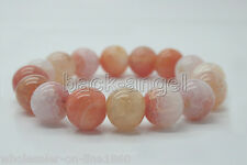 """Round Bead Stretchy Bracelets 7.5""""Aaa+ Natural 12mm agate Mix color Gemstone"""