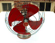 Vintage Art Deco Fan General Electric Vortalex Red Blades 3 Speed c.1930's