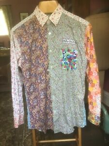 SHITE SHIRTS COLOURFUL PATCHWORK SHIRT. LARGE. 1960s HIPPY STYLE. VGC