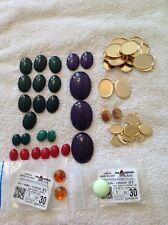 Lot of 107 Semi-precious Stone Cabochons and Brass Bezel Settings