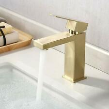Bathroom Sink Faucet Single Hole Modern Vanity Faucet One Handle Brushed Gold