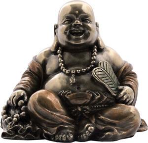 Happy, Wealth Buddha with prayer beads Cold Cast Bronze statue  6.5cm / 3.54'