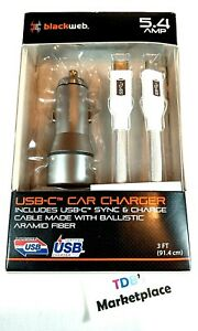 Blackweb 5.4 Amp USB-C Car Charger Power Adapter W/ Sync and Charge Cable