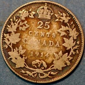 Canada 25 Cents 1914 KM# 24
