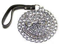 """4.0MM X 72"""" (6ft) Chrome Chain Dog Leashes with  Leather Strap"""