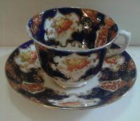 Royal Albert Crown China Teacup and Saucer Imari Style Cobalt Blue