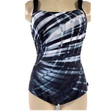 NEW Reebok Women's Size 8 Laserfocus Constructed One Piece Swimsuit Black/Grey